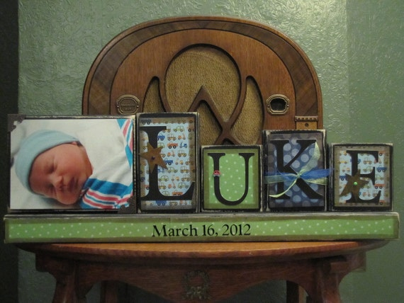 Boy's Personalized and Custom Name Sign with Picture Great for Baby Shower Gifts boy's name sign personalized