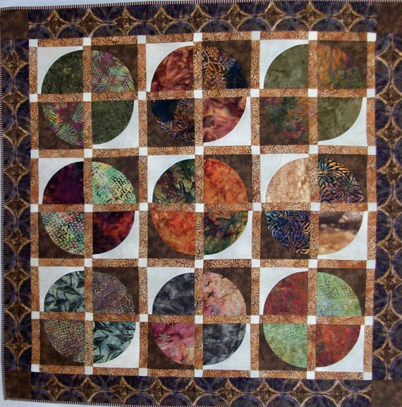 Batik earthtone quilt wallhanging 43 inches square