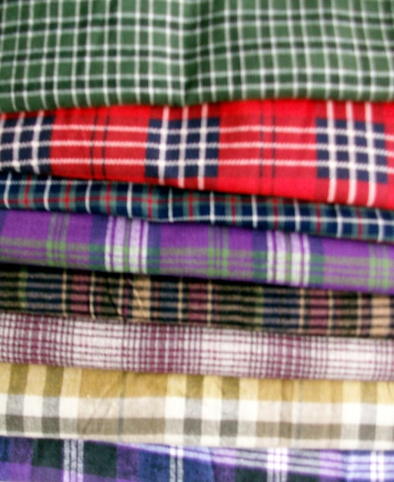 Huge lot of Plaid Flannel fabric over 50 yards total, 29 different fabrics