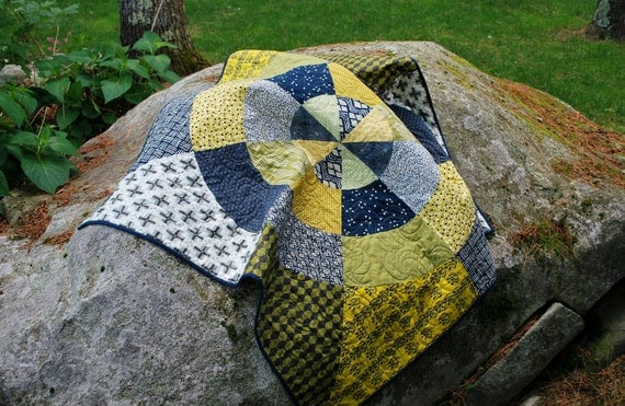 """Designer Artsy Quilt Wall Hanging or Lap Quilt 44"""" X 46"""""""