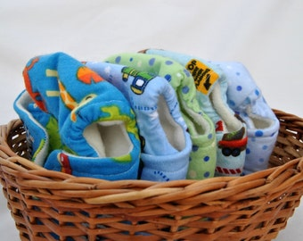 Boy Baby Doll or Stuffed Animal Cloth Diaper Set of Five Diapers