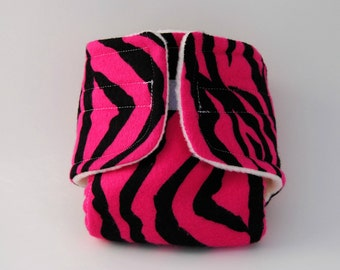 Baby Doll Diaper - Pink and Black Zebra Print - Size Small