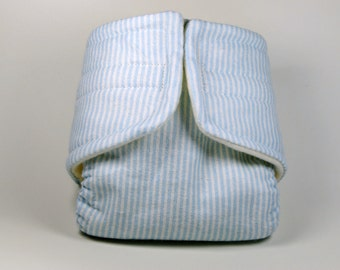 Baby Doll Diaper - Blue Stripes - Size Large