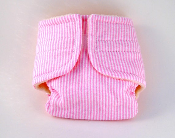 Baby Doll Diaper - Pink Stripes - Size Large