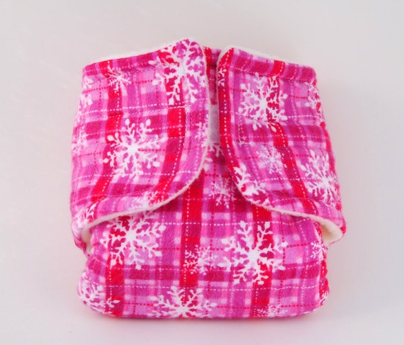Baby Doll Cloth Diaper - Pink Snow - Size Large