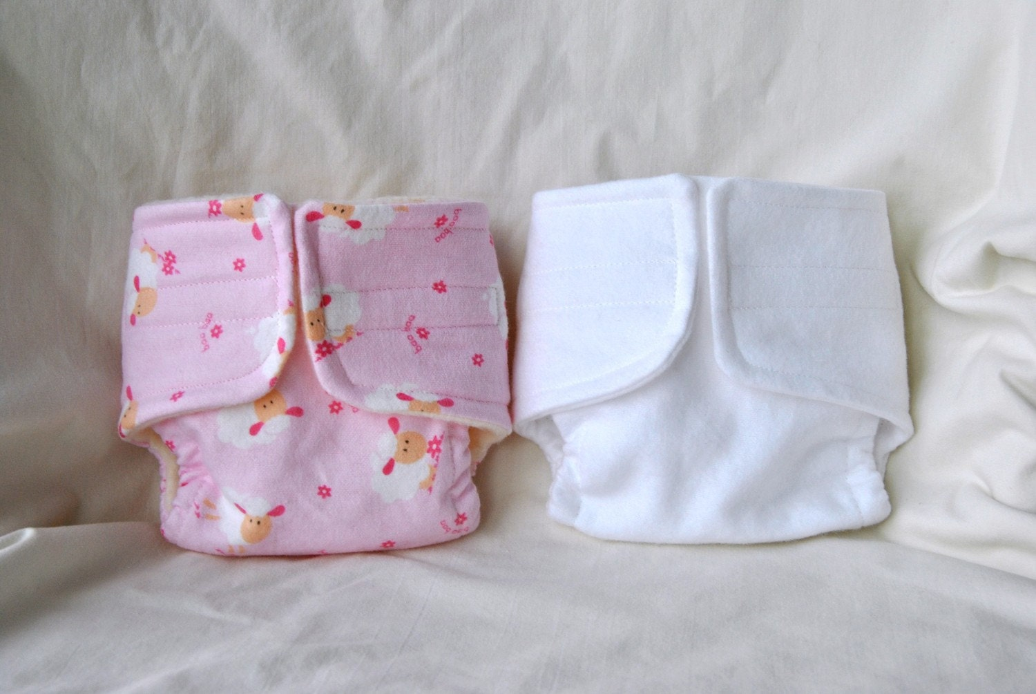 Baby Doll Cloth Diaper Set Of Two Diapers Pink Sheep And