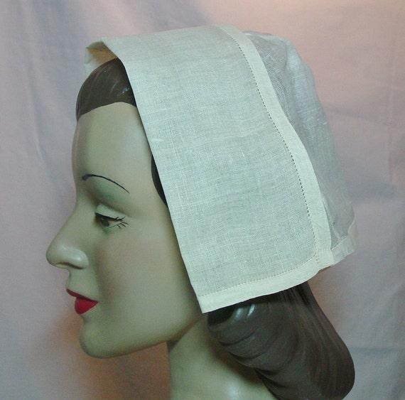 WW2 Army Nurse Indoor White Linen Cap Hat ANC