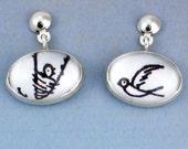 Mother Bird and Baby Bird Earrings