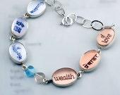 Love Abundance Sanskrit Mandarin Bracelet for Yoga Chick, Valentines - in Pastels