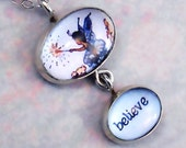 Fairy Necklace says Believe with Fairy Picture Blue & Silver