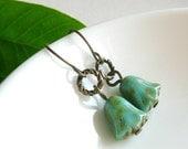 Earrings - Beaded Brass Tulips in Turquoise Blue