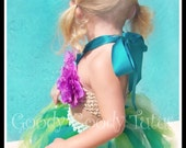 UNDER THE SEA Little Mermaid Inspired Sparkly Tutu and Flowered Bikini Top