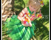 ISLAND GIRL Hawaiian Hula Girl Inspired Tutu and Flowered Top with Matching Hair Clippies & Bracelets