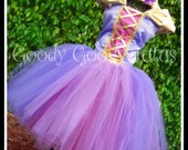 TANGLED IN TULLE Rapunzel Inspired Tutu with Corseted Top and Floral Braided Headband