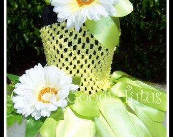 FROGGY PRINCESS Tiana Inspired Crocheted Tutu Dress with Matching Flowered Headband - Small 12/18mos
