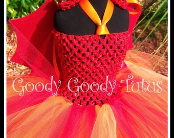 MOMMY'S LITTLE DEVIL Red Crocheted Tutu Dress with Sparkly Wings and Horn Clippies - Small 12/18mos