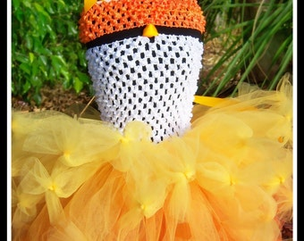 CANDY CORN SWEETIE Crocheted Tutu Dress with Matching Candy Corn Beanie Cap - Small 12/18mos