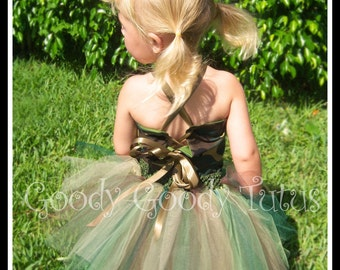CAMO CUTIE Camoflauge Tutu and Reversible Corseted Top with Matching Fabric Flowered Headband