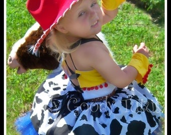 STORYTIME COWGIRL Jessie Inspired 5pc Tutu Set with Corseted Top, Twirl Skirt, Wrist Cuffs and Cowgirl Hat