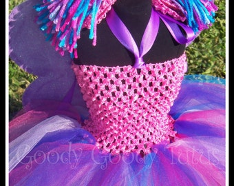 CUSTOM LISTING for DEBRA Abby Cadabby Inspired Crocheted Tutu Dress with Sparkly Wings and Ponytail Headband
