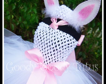 LITTLE BUNNY LOVE White Crocheted Bunny Tutu Dress with Ear Clippies and Headband - Small 12/18mos