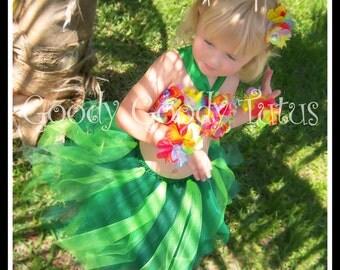 ISLAND GIRL Hawaiian Hula Girl Inspired Tutu and Flowered Top with Matching Hair Clippies & Bracelets
