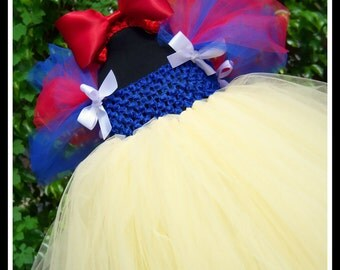FAIREST OF ALL Snow White Inspired Babydoll Tutu Dress with Red Satin Bow Headband
