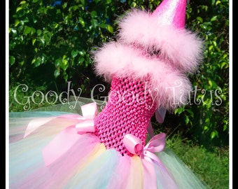 CONFETTI AND SPRINKLES Rainbow Colored Tutu Dress with Matching Glittery Party Hat - Small 12/18mos