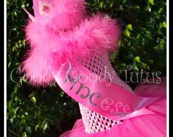 BEAUTY QUEEN Pink Crocheted Tutu Dress with Princess Sash and Matching Tiara - Medium 2/3T