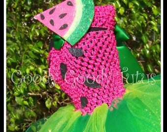 PICNIC PARTY PRINCESS Watermelon Crocheted Tutu Dress with Matching Watermelon Slice Headband