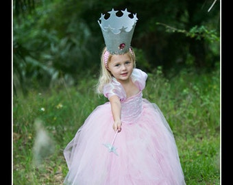 GOOD LITTLE WITCH Glinda Inspired Tutu Set with Ultra Full Tutu, Beaded Corset Top, Crown and Wand