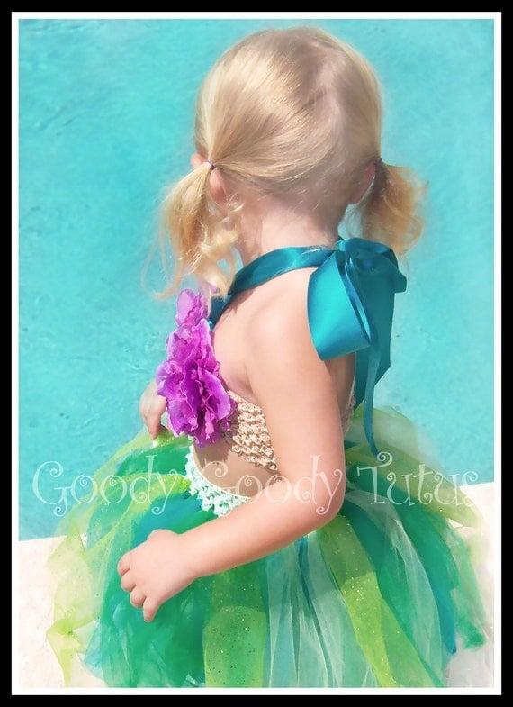 UNDER THE SEA Little Mermaid Inspired Sparkly Tutu and Flowered Bikini Top