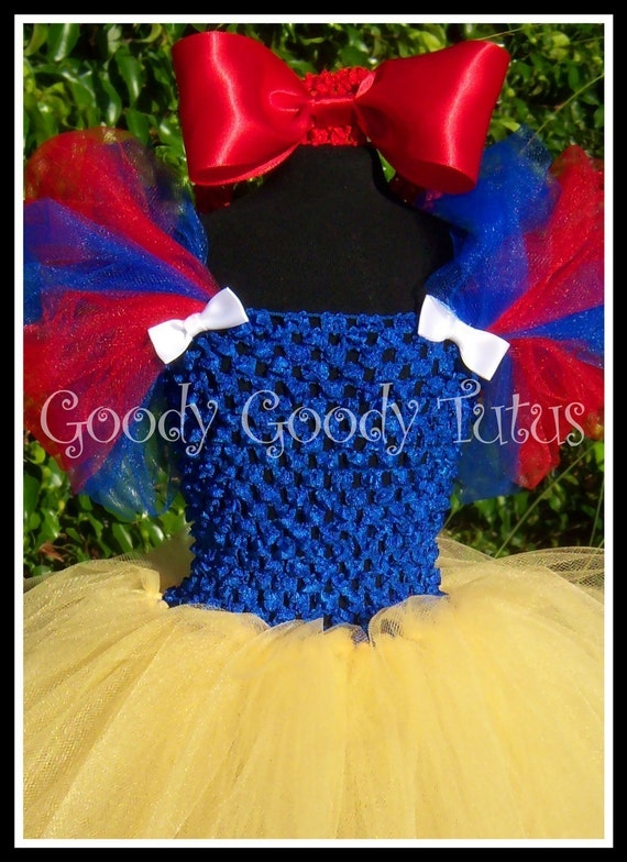 SNOW WHITE Inspired Crocheted Tutu Dress and Red Satin Bow Headband - Small 12/18mos