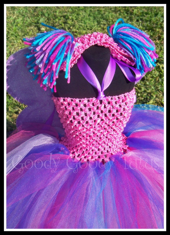 FABBY CADABRA FAIRY Abby Cadabby Inspired Crocheted Tutu Dress with Sparkly Wings and Ponytail Headband