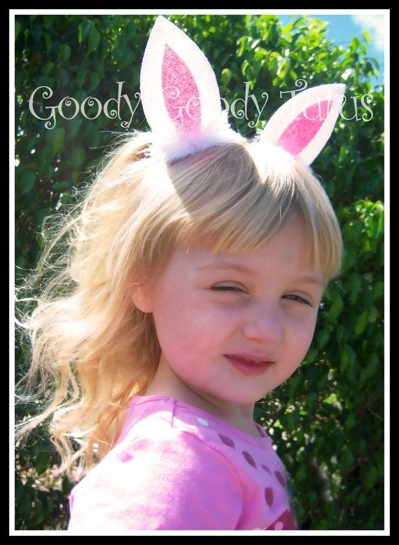 BUNNY EARS Glittery Felt Bunny Ear Hair Clips with Fluffy Maribou Trim