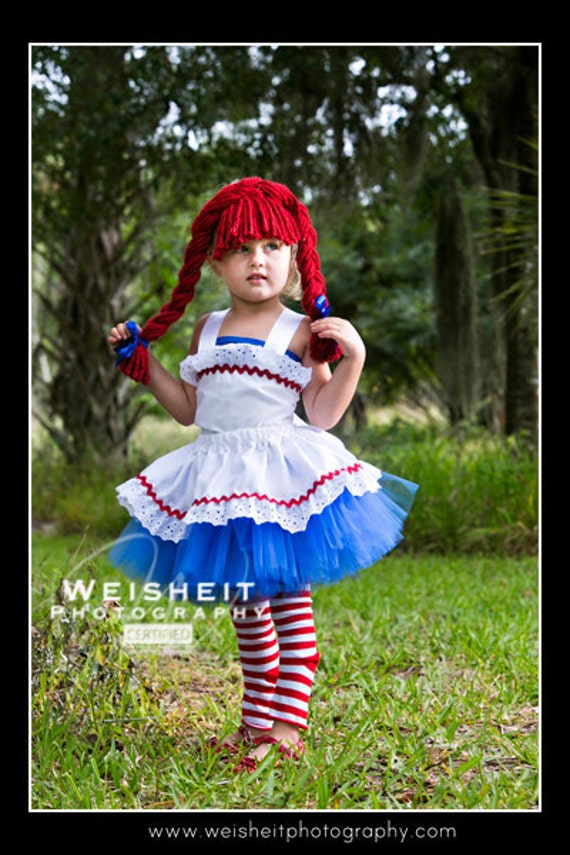 RAG DOLL SWEETIE Raggedy Ann Inspired Tutu Set with Twirl Skirt, Corset Top and Braided Headpiece