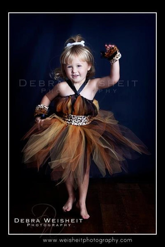 CAVEGIRL CUTIE Tutu Dress with Fur Belt, Wrist Cuffs and Glittery Bone Hairclip