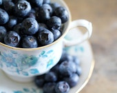 Blueberries In Vintage Tea Cup.  8x10 Fine Art Photography Print.  Shabby Chic Home Decor