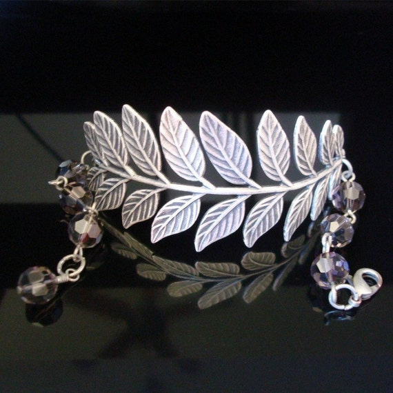 Free Shipping - A Touch of Nature bracelet - Smoked Silver