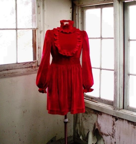 Red Velvet Dress, Forlorn collection-Clearance