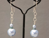 "Swarovski Crystal Pearl - Drop Earrings - Powder Blue  - Wire Wrapped -  1.50"" Dangle - Sterling Silver French Ear Wire  - Ref E42"