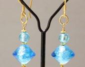"""Venetian - 35mm"""" Dangle Earrings - Aqua Blue  - Wire Wrapped - Vermeil French Ear Wire - Or Clip - Ref E 93"""