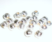 4mm Corrugated Sterling Silver Round Spacer Bead 30 pcs. S-142
