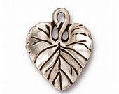 4 Fine Silver or Copper Finish Violet Leaf Charm Pendant TierraCast 94-2011
