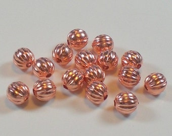 3.2mm Corrugated Genuine Copper Round Spacer Beads 144 pcs. GC-196