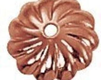 7mm Scalloped Genuine Copper Bead Cap (36) GC-126