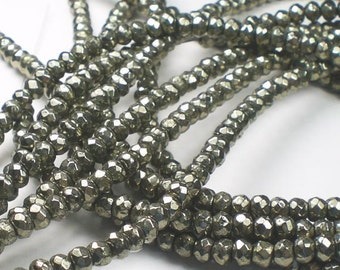 4mm Faceted Pyrite Rondelle Beads Pyrite Beads 40 pcs.