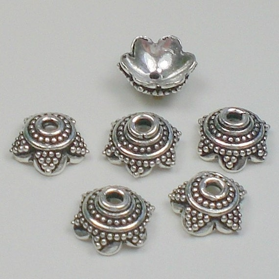 8mm bali style bead caps sterling silver by