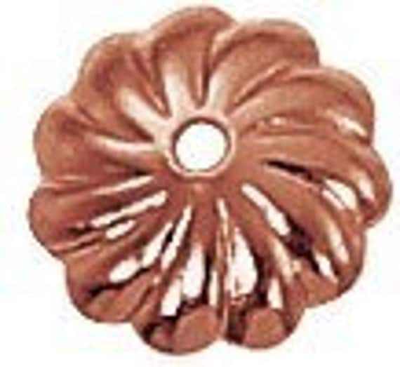 7mm Scalloped Genuine Copper Bead Cap (36) GC-126
