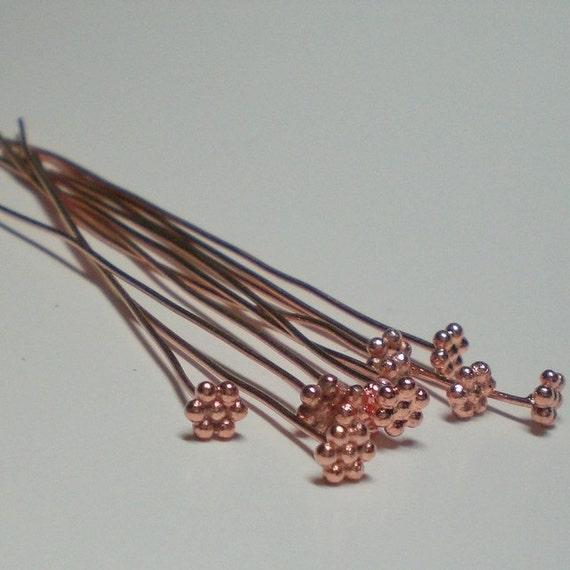 Genuine Copper Decorative Flower Head Pins For Pendants 20 pcs GC-155